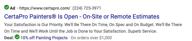 CertaPro Google Pay Per Click Ad